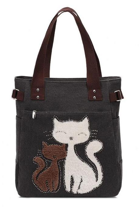 Fashion Women Handbag Cute Cat Tote Bag Lady Canvas Bag Shoulder Bag - Black