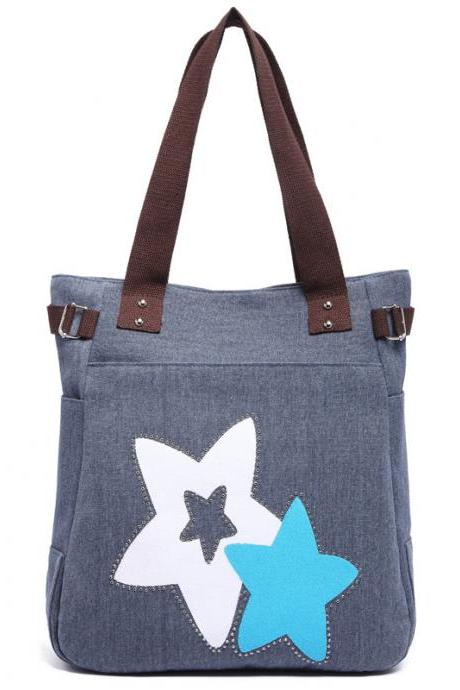 Fashion Women Star Pattern Canvas Shoulder Bag - Blue