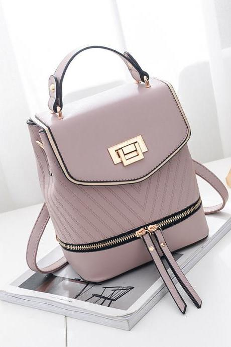 Women Leather Backpack Zipper Mini Multifunction Shoulder Bag - Pink