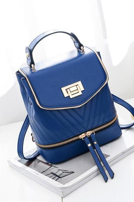 Women Leather Backpack Zipper Mini Multifunction Shoulder Bag - Blue
