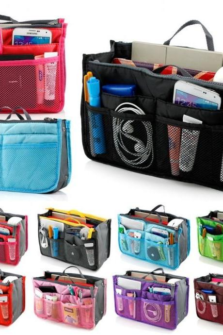 New Multi-function Handbag Purse Organizer Insert Phone Cosmetic Bag in Bag Storage Case