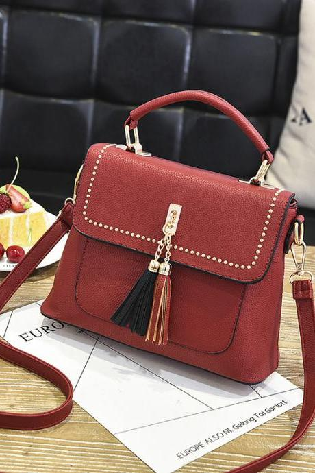 Tassel Women Messenger Bags Cross Body Shoulder Lady Bags Mini - Wine Red