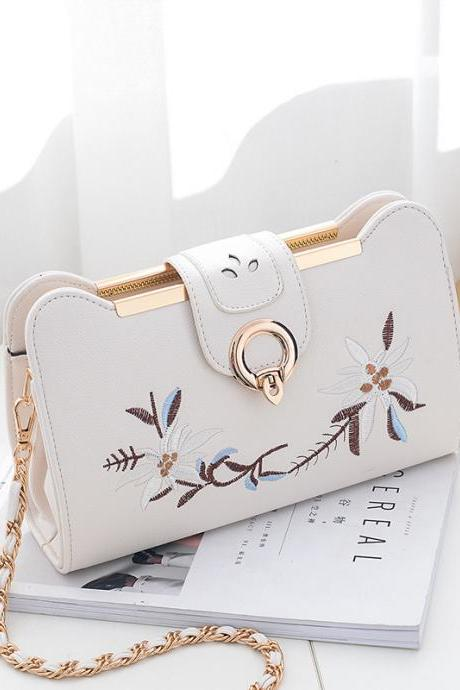 PU Leather Shoulder Handbag Adorned with Floral Embroidery with Linked Chain Straps - White