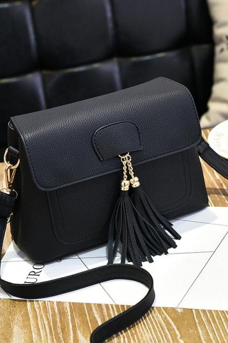 Women Tassel Mini Shoulder Bag - Black