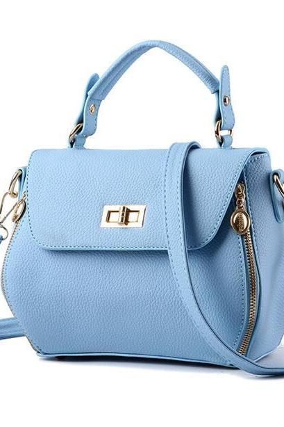 Small Women Messenger Bags Female Crossbody Shoulder Bag Mini Clutch Purse Bag Candy Color - Sky Blue