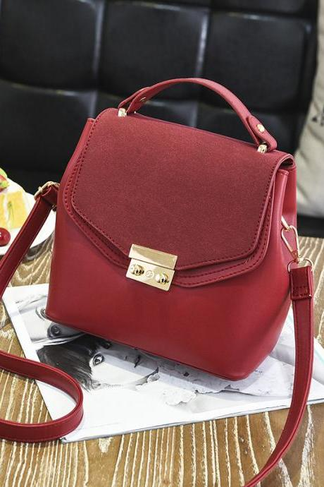 Hot Sale New Design Women Leather Small Bag Shoulder Messenger Mini Handbag - Wine Red