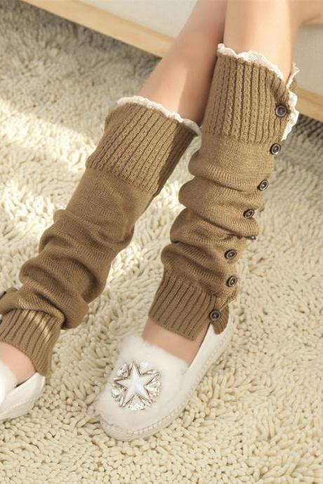 Women High Knit Flat Warmer Knee Leg Boot Socks