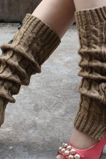Winter Knitted Leg Warmers Accessories for Women - Khaki