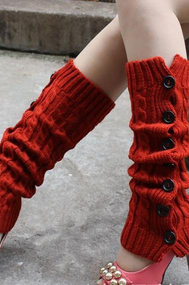 Winter Knitted Leg Warmers Accessories for Women - Red
