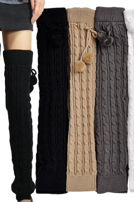 Women's Fashion Knit Crochet Winter Leg Warmer Leggings Socks