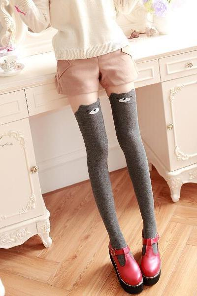 Women's Fashion Cute 3D Cartoon Animal Pattern Thigh Stockings Over Knee High Knit Socks - Dark Grey
