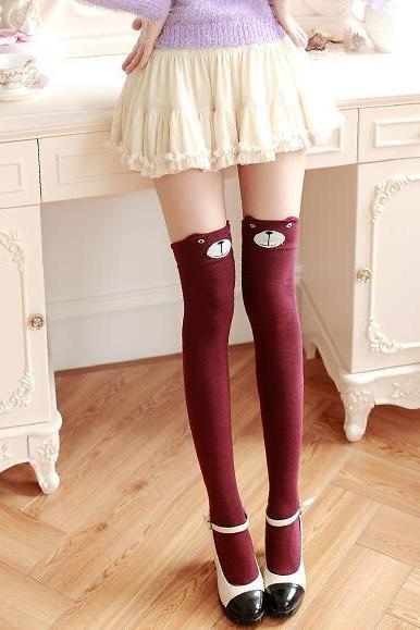 Women's Fashion Cute 3D Cartoon Animal Pattern Thigh Stockings Over Knee High Knit Socks - Wine Red