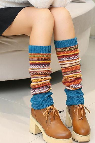Women Ladies Winter Long Socks Knit Crochet Fashion Leg Warmers Legging Stocking - Blue