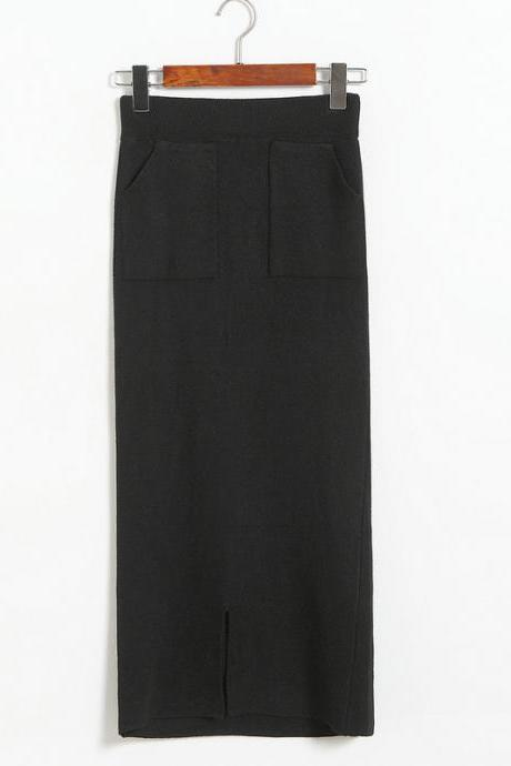 Black High Rise Straight Cut Long Skirt