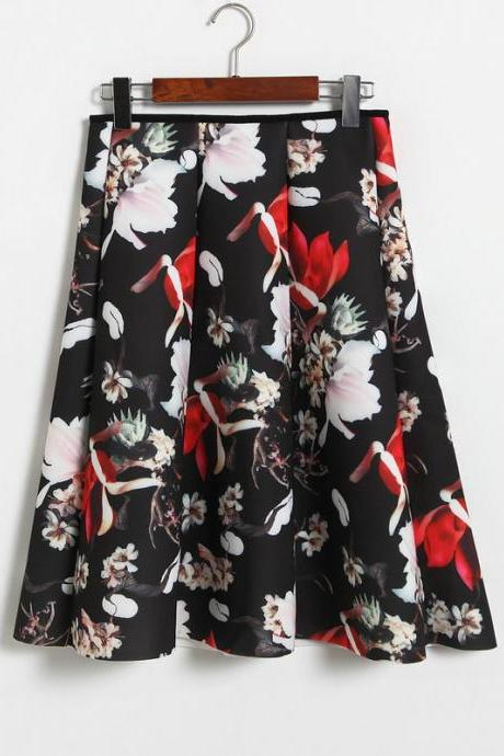 Floral Print Black Ruffled High Rise Knee Length A-Line Skirt