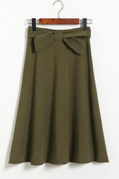 Womens High Waist Solid Elegant Bow Casual A Line Skirt - Amy Green