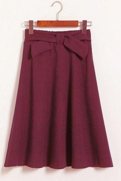Womens High Waist Solid Elegant Bow Casual A Line Skirt - Wine Red