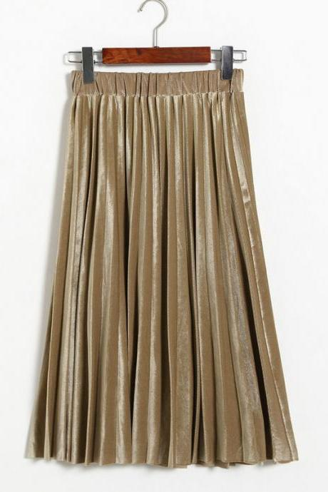 Women Spring Autumn Style Women Elastic Waist Pleated Length Skirt - Khaki