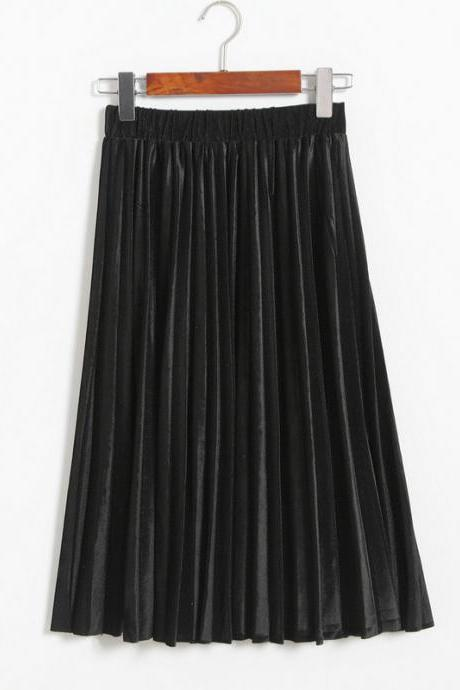 Women Spring Autumn Style Women Elastic Waist Pleated Length Skirt - Black