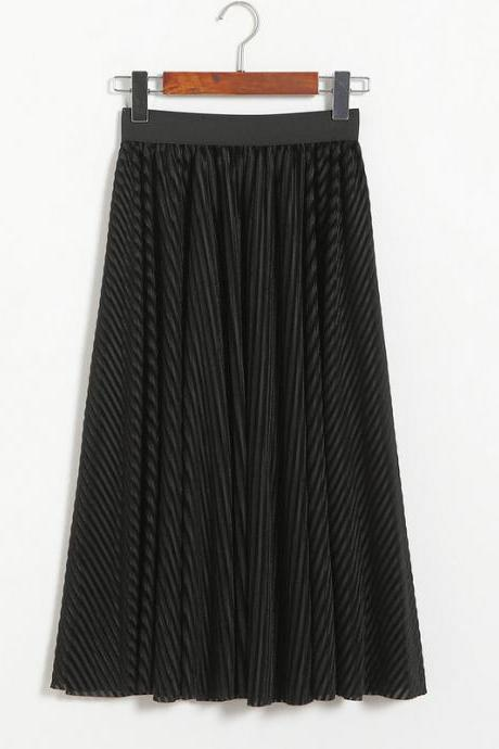 Women Stripe High Waist PleatedSkirt - Black