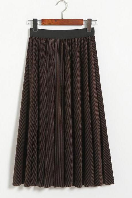 Women Stripe High Waist PleatedSkirt - Coffee