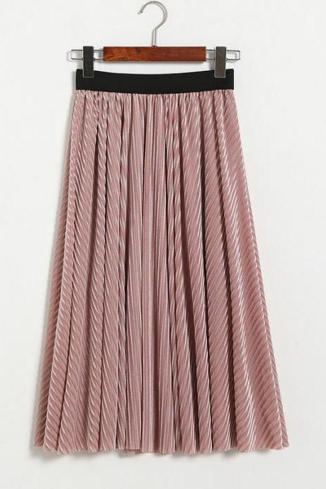 Women Stripe High Waist Pleated Skirt - Pink