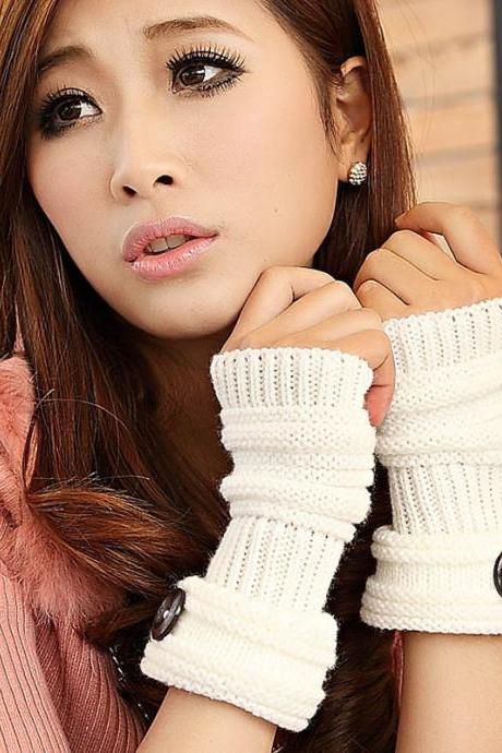 Cute Women Arm Warmer Fingerless Knitted Long Gloves - White