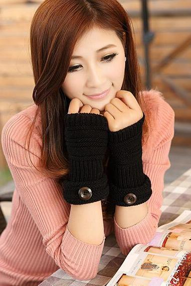Cute Women Arm Warmer Fingerless Knitted Long Gloves - Black