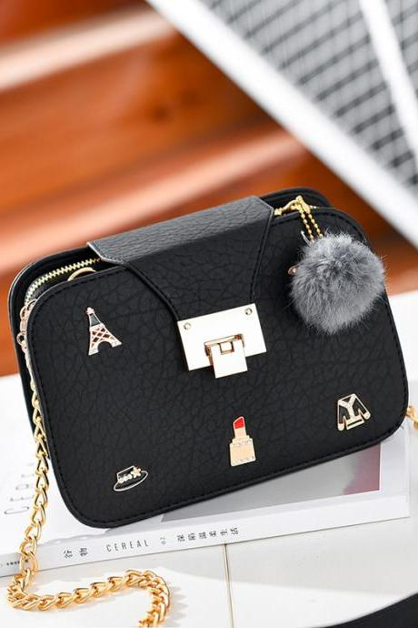 Cute Women Crossbody Mini Shoulder Bag Girls Chain Messenger Bag Ladies Small Handbags Purse - Black