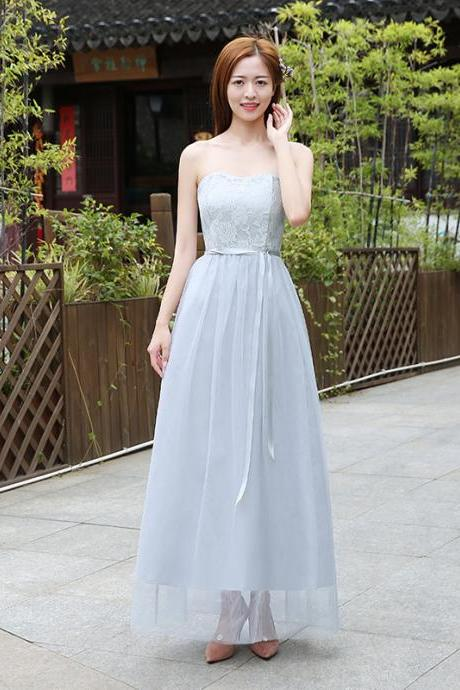 Beautiful Strapless Women Long Gauze Evening Formal Wedding Party Bridesmaid Cocktail Dresses - Grey