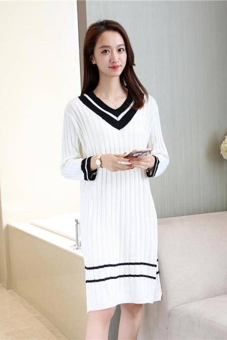 Women V Neck Spring Long Sleeved Knitted Sweater Dress - White