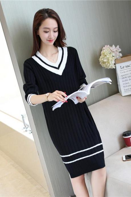 Women V Neck Spring Long Sleeved Knitted Sweater Dress - Black