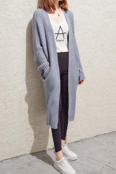 Grey Women Knit Cardigan Sweater Coat