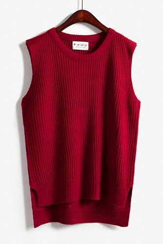 Women Sleeveless Vintage Pullover Knit Vest Sweater Tops - Red