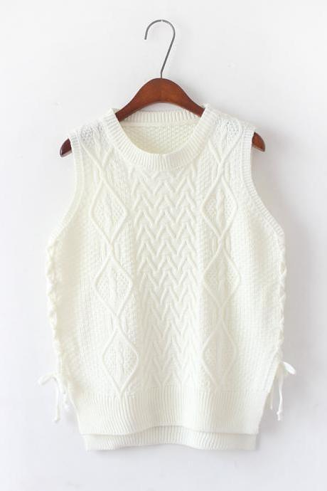 New Design Women Short Pullover Knit Vest Tops - White