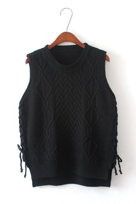 New Design Women Short Pullover Knit Vest Tops - Black