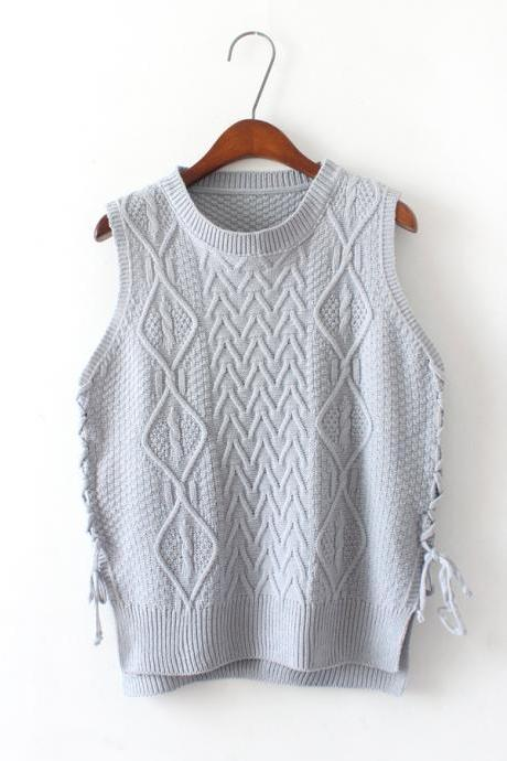 New Design Women Short Pullover Knit Vest Tops - Grey