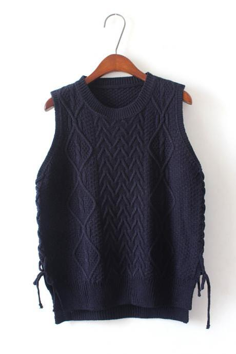 New Design Women Short Pullover Knit Vest Tops - Dark Blue