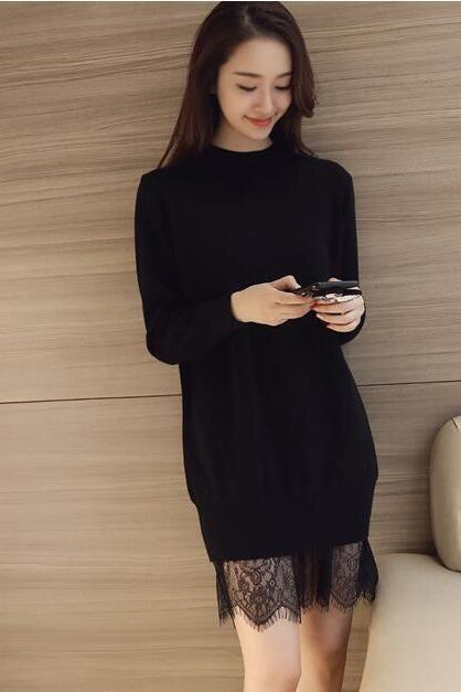 Women Long Sleeve Winter Lace Sweater Dress - Black