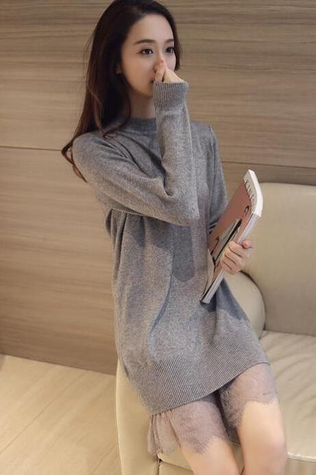 Women Long Sleeve Winter Lace Sweater Dress - Grey