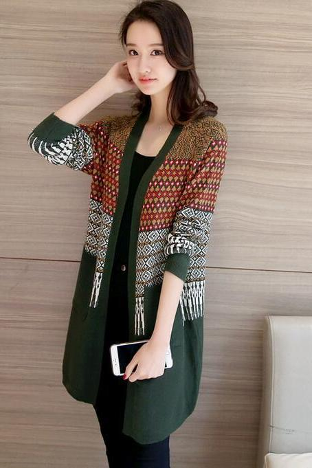 New Country Style Multicolor Argyle Cardigans Sweater - Amy Green