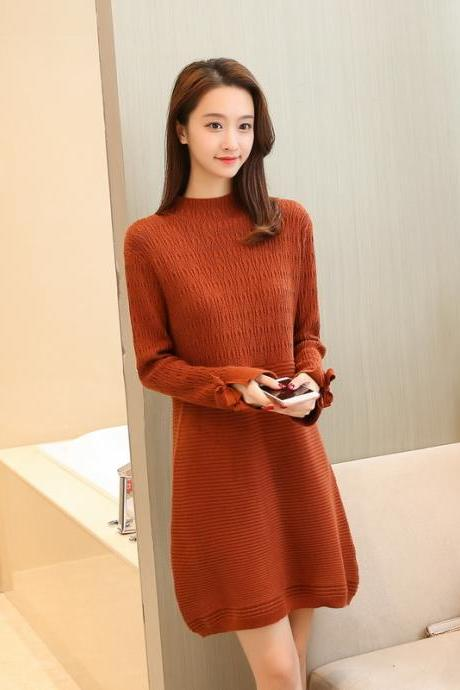 New Women Long Sleeve Sweater Dress Casual Loose Long Knit Dress - Khaki