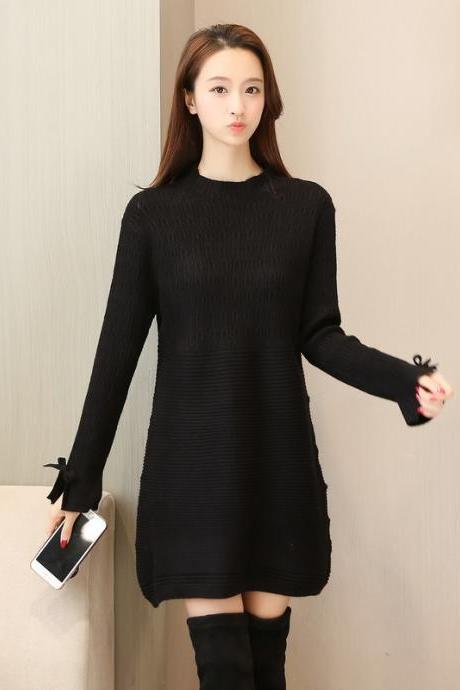 New Women Long Sleeve Sweater Dress Casual Loose Long Knit Dress - Black