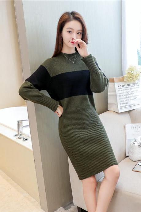 Women Patchwork Long Sleeve Sweater Dress Bodycon Sexy Round Neck Dress - Amy Green