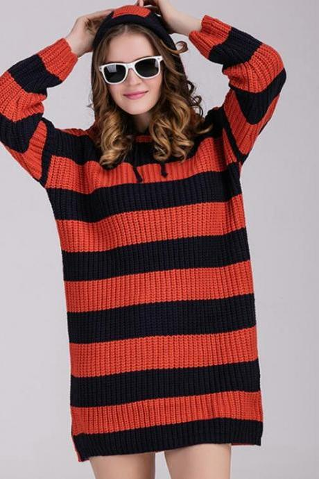 Fashion Women Casual Loose Stripe Sweater Knitwear Long Sleeve Blouse Tops - Orange