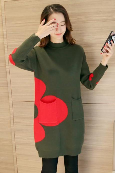 Women Sweaters Pullovers Long Sleeve Sweater - Amy Green