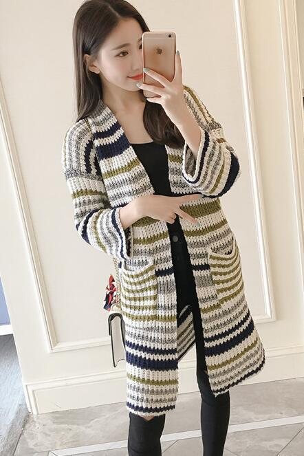 New Stripe Knitted Long Cardigan - Green