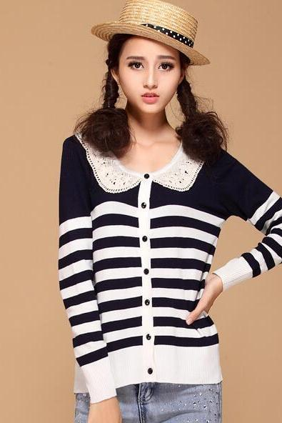 Cute Stripe Women Autumn Pullovers Knitting Sweater - Dark Blue