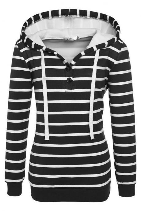 Autumn Street Style Striped Printing Women Casual Long Sleeved Hooded Shirt - Black
