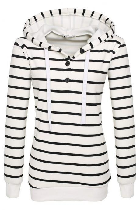 Autumn Street Style Striped Printing Women Casual Long Sleeved Hooded Shirt - White